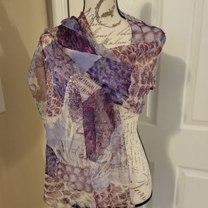 Collection Eighteen Purple Floral Scarf